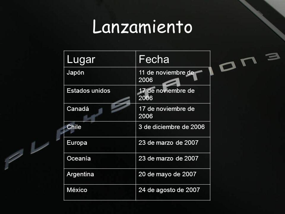 Lanzamiento LugarFecha Japón11 de noviembre de 2006 Estados unidos17 de noviembre de 2006 Canadá17 de noviembre de 2006 Chile3 de diciembre de 2006 Europa23 de marzo de 2007 Oceanía23 de marzo de 2007 Argentina20 de mayo de 2007 México24 de agosto de 2007