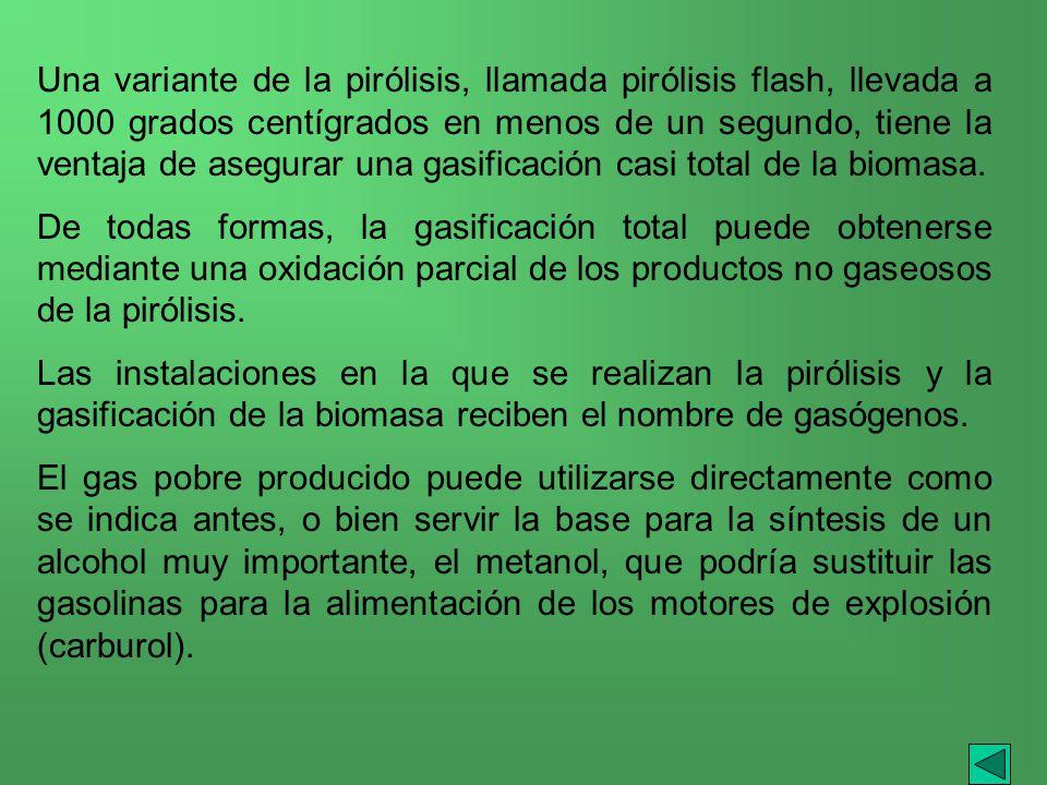 Una variante de la pirólisis, llamada pirólisis flash, llevada a 1000 grados centígrados en menos de un segundo, tiene la ventaja de asegurar una gasi