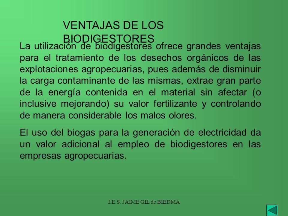 I.E.S. JAIME GIL de BIEDMA La utilización de biodigestores ofrece grandes ventajas para el tratamiento de los desechos orgánicos de las explotaciones