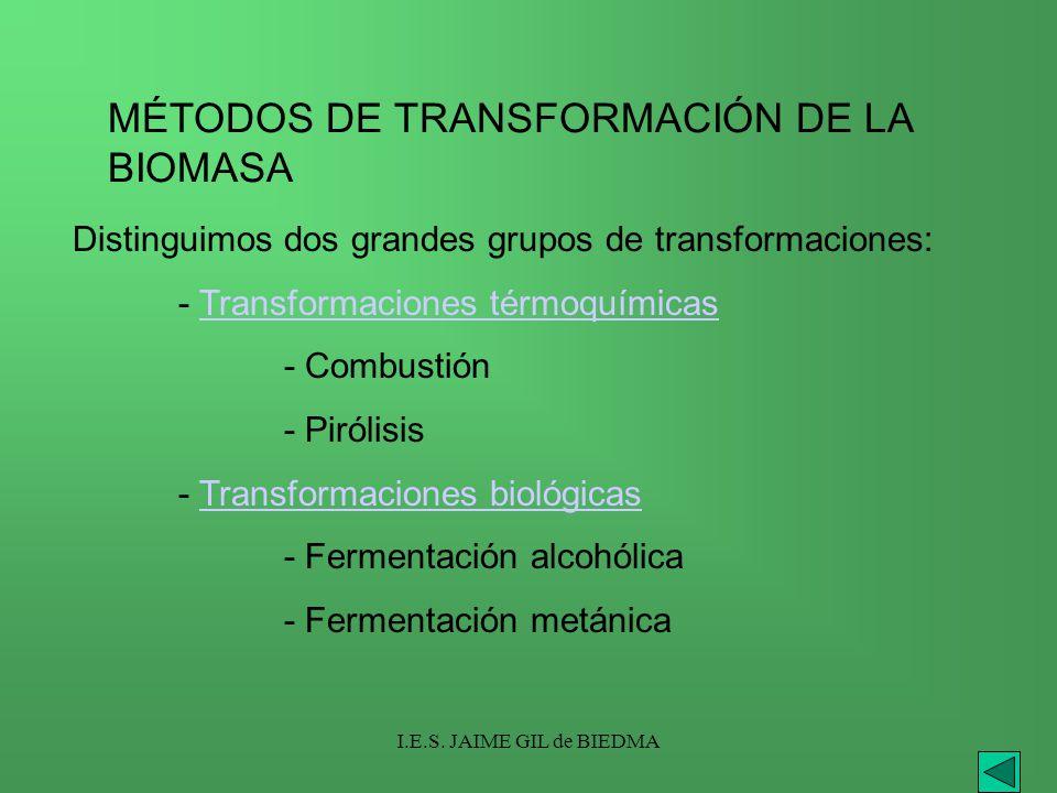 I.E.S. JAIME GIL de BIEDMA MÉTODOS DE TRANSFORMACIÓN DE LA BIOMASA Distinguimos dos grandes grupos de transformaciones: - Transformaciones térmoquímic
