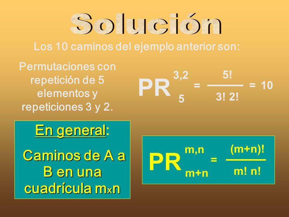 Permutaciones con repetición de 5 elementos y repeticiones 3 y 2. En general En general: Caminos de A a B en una cuadrícula m x n Los 10 caminos del e