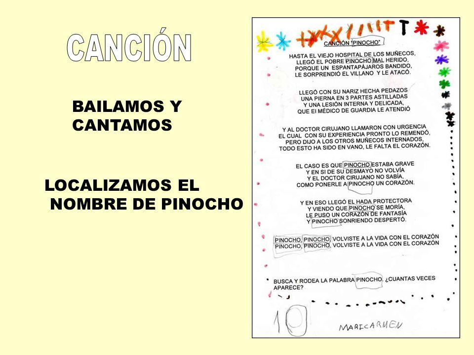 BAILAMOS Y CANTAMOS LOCALIZAMOS EL NOMBRE DE PINOCHO