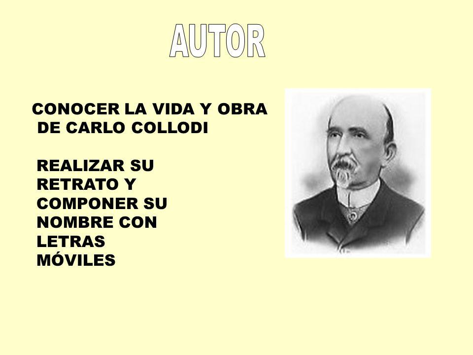 CONOCER LA VIDA Y OBRA DE CARLO COLLODI REALIZAR SU RETRATO Y COMPONER SU NOMBRE CON LETRAS MÓVILES
