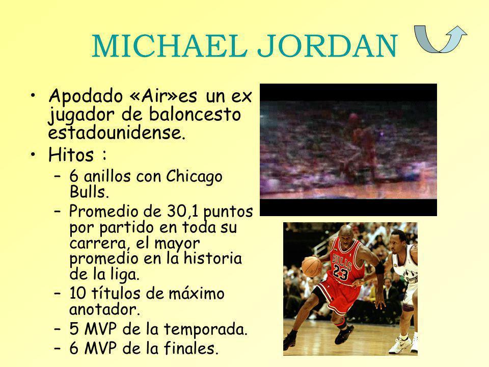 MICHAEL JORDAN Apodado «Air»es un ex jugador de baloncesto estadounidense. Hitos : –6 anillos con Chicago Bulls. –Promedio de 30,1 puntos por partido
