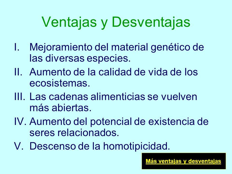 Ventajas y Desventajas I.Mejoramiento del material genético de las diversas especies. II.Aumento de la calidad de vida de los ecosistemas. III.Las cad