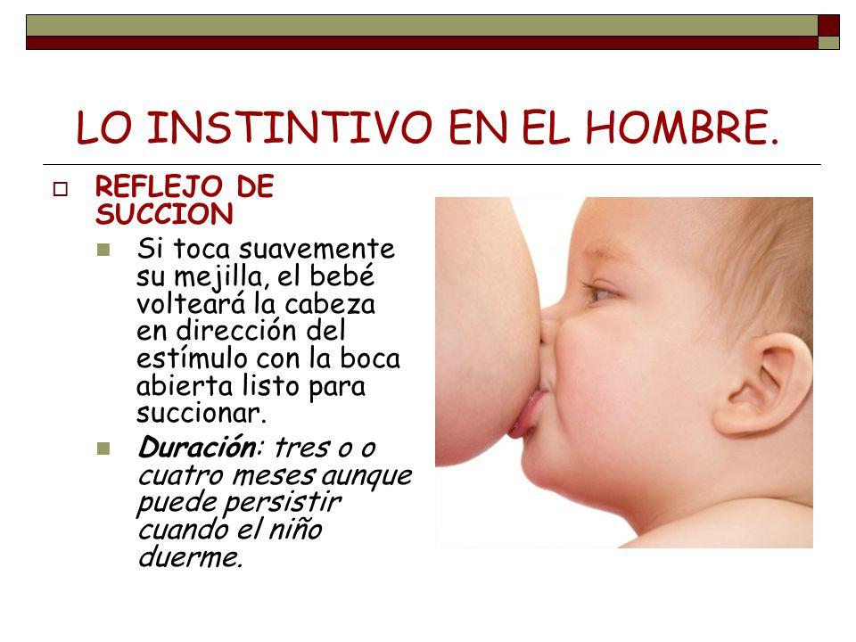 LO INSTINTIVO EN EL HOMBRE. REFLEJO DE SUCCION Si toca suavemente su mejilla, el bebé volteará la cabeza en dirección del estímulo con la boca abierta