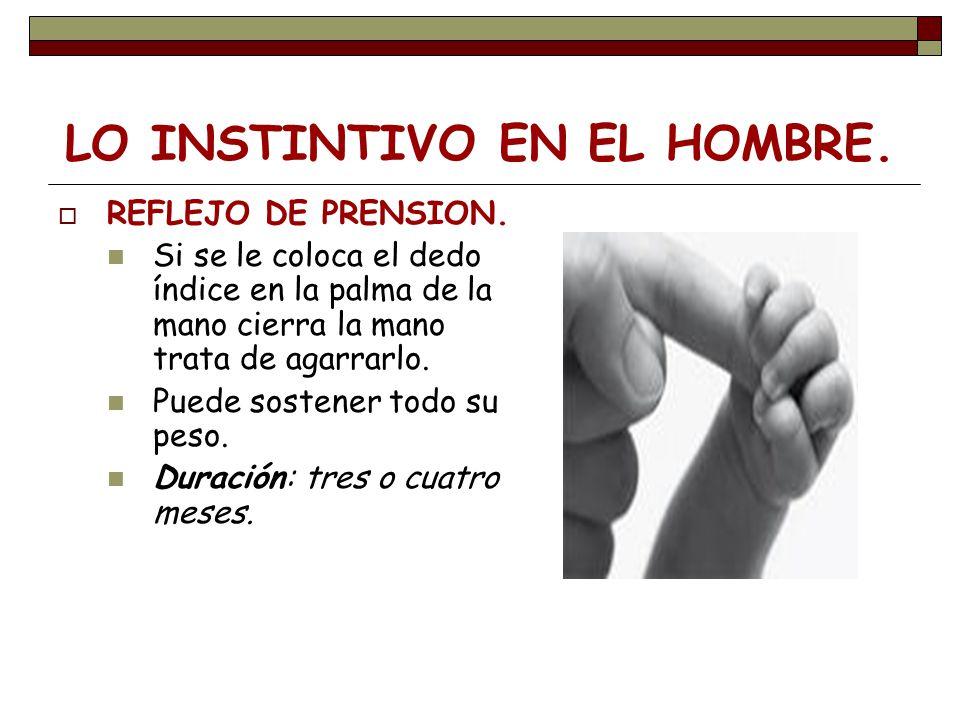 LO INSTINTIVO EN EL HOMBRE. REFLEJO DE PRENSION. Si se le coloca el dedo índice en la palma de la mano cierra la mano trata de agarrarlo. Puede sosten