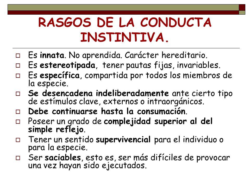 LOS PATRONES FIJOS DE CONDUCTA: P.F.C Son conductas que el animal no precisa aprender.