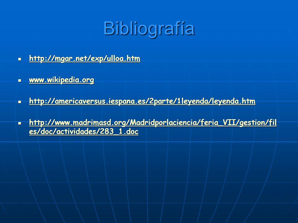 Bibliografía http://mgar.net/exp/ulloa.htm http://mgar.net/exp/ulloa.htm http://mgar.net/exp/ulloa.htm www.wikipedia.org www.wikipedia.org www.wikiped