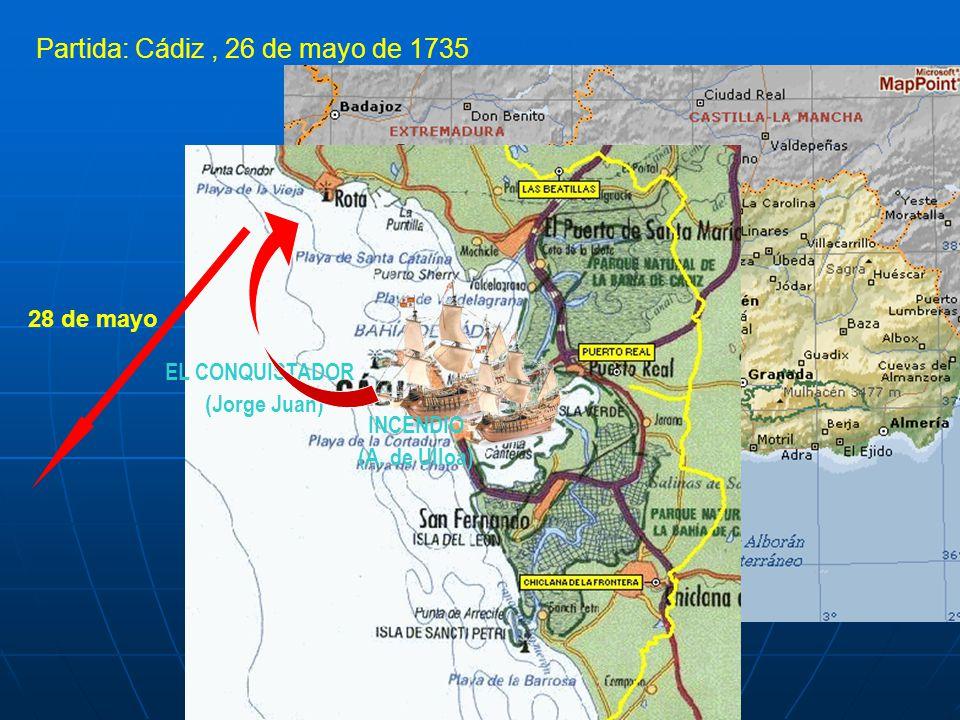 Partida: Cádiz, 26 de mayo de 1735 EL CONQUISTADOR (Jorge Juan) INCENDIO (A. de Ulloa) 28 de mayo