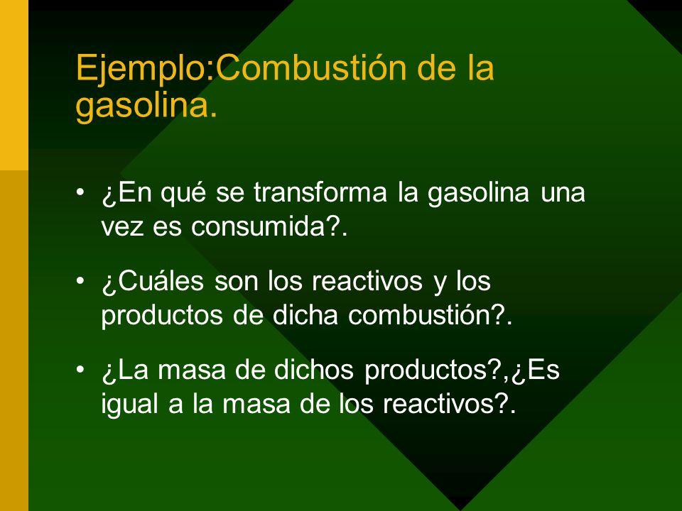 Ejemplo:Combustión de la gasolina.¿En qué se transforma la gasolina una vez es consumida?.