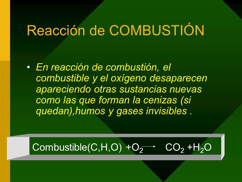 Reacción de COMBUSTIÓN En reacción de combustión, el combustible y el oxígeno desaparecen apareciendo otras sustancias nuevas como las que forman la cenizas (si quedan),humos y gases invisibles.