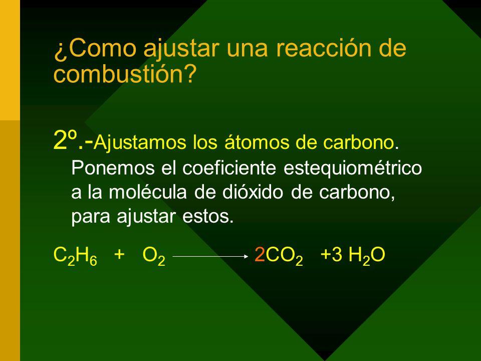 ¿Como ajustar una reacción de combustión.2º.- Ajustamos los átomos de carbono.