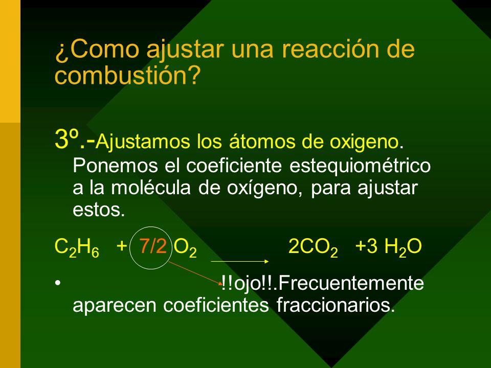 ¿Como ajustar una reacción de combustión.3º.- Ajustamos los átomos de oxigeno.