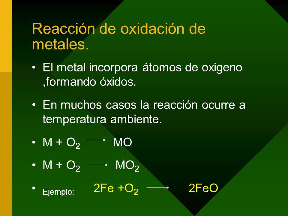 Reacción de oxidación de metales.El metal incorpora átomos de oxigeno,formando óxidos.