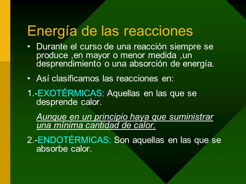 Energía de las reacciones Durante el curso de una reacción siempre se produce,en mayor o menor medida,un desprendimiento o una absorción de energía.