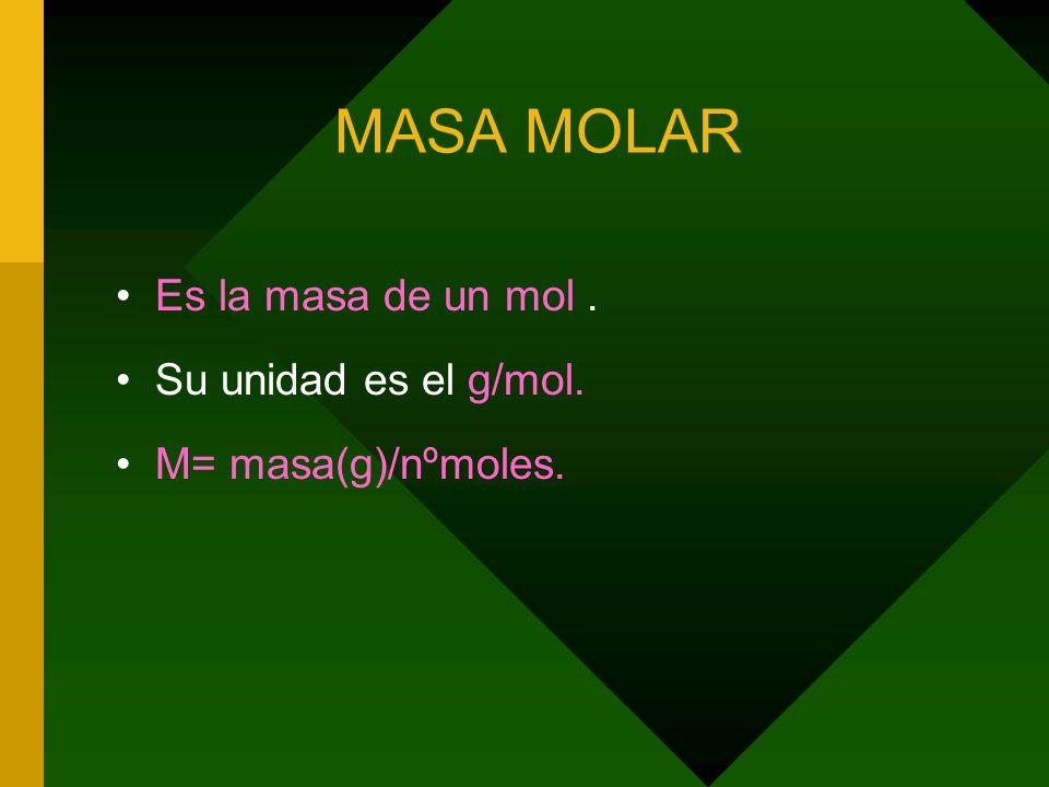 MASA MOLAR Es la masa de un mol. Su unidad es el g/mol. M= masa(g)/nºmoles.