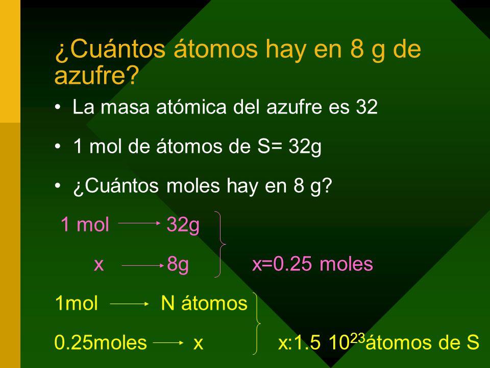 ¿Cuántos átomos hay en 8 g de azufre.