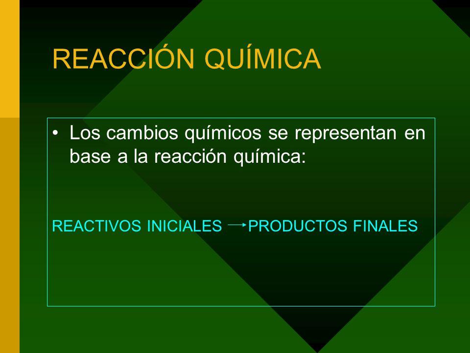 REACCIÓN QUÍMICA Los cambios químicos se representan en base a la reacción química: REACTIVOS INICIALES PRODUCTOS FINALES