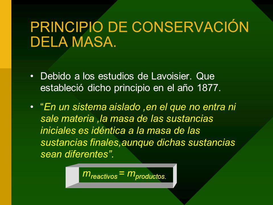 PRINCIPIO DE CONSERVACIÓN DELA MASA.Debido a los estudios de Lavoisier.