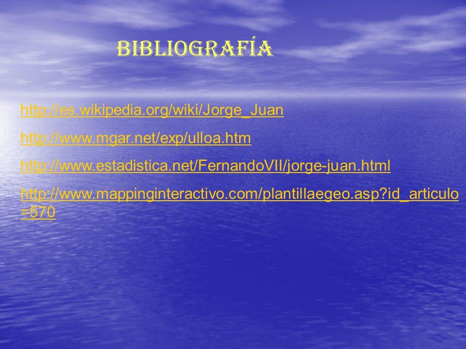 http://es.wikipedia.org/wiki/Jorge_Juan http://www.mgar.net/exp/ulloa.htm http://www.estadistica.net/FernandoVII/jorge-juan.html http://www.mappinginteractivo.com/plantillaegeo.asp?id_articulo =570 Bibliografía