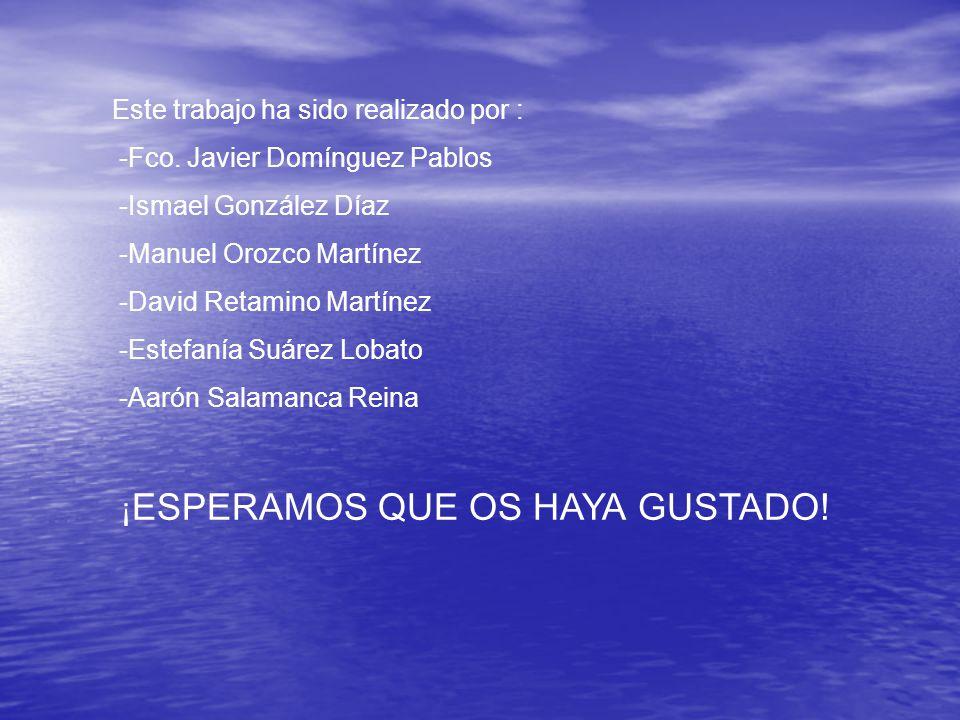 Este trabajo ha sido realizado por : -Fco. Javier Domínguez Pablos -Ismael González Díaz -Manuel Orozco Martínez -David Retamino Martínez -Estefanía S