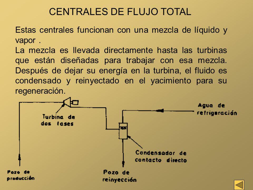 CENTRALES DE FLUJO TOTAL Estas centrales funcionan con una mezcla de líquido y vapor. La mezcla es llevada directamente hasta las turbinas que están d