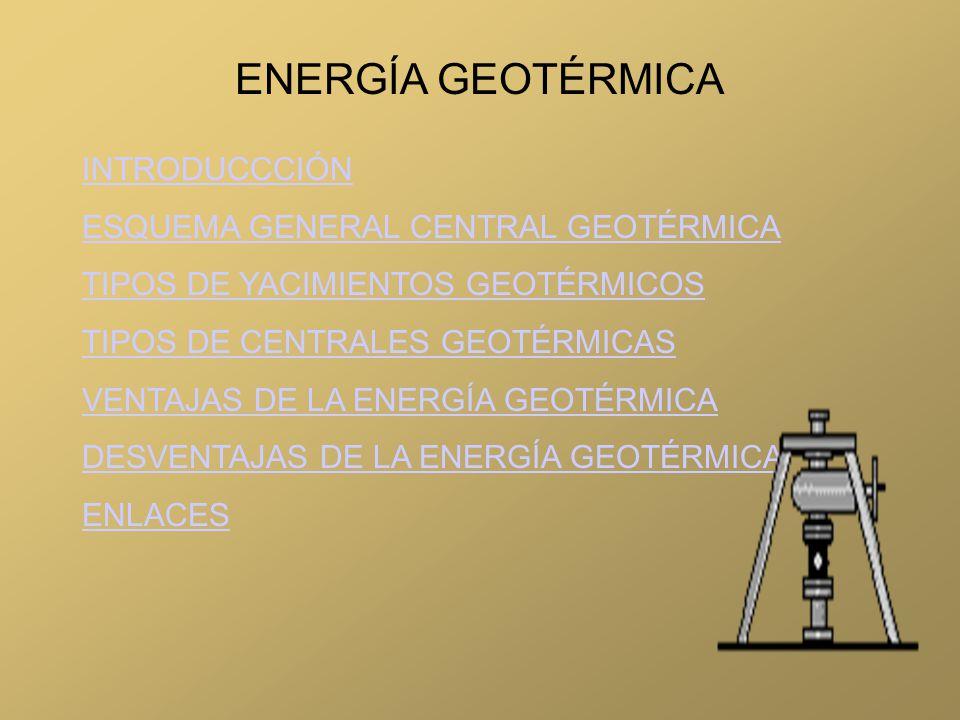 INTRODUCCCIÓN ESQUEMA GENERAL CENTRAL GEOTÉRMICA TIPOS DE YACIMIENTOS GEOTÉRMICOS TIPOS DE CENTRALES GEOTÉRMICAS VENTAJAS DE LA ENERGÍA GEOTÉRMICA DES