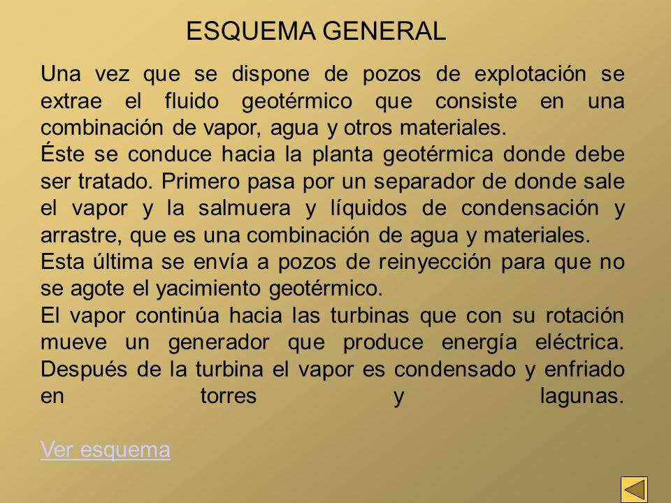 Una vez que se dispone de pozos de explotación se extrae el fluido geotérmico que consiste en una combinación de vapor, agua y otros materiales. Éste