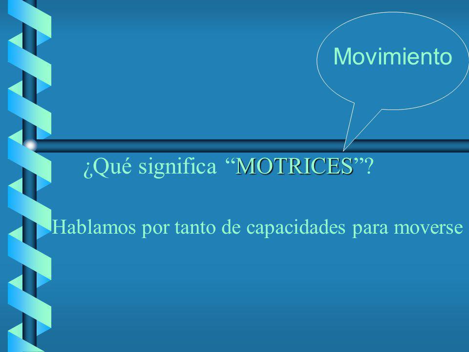 MOTRICES ¿Qué significa MOTRICES? Movimiento Hablamos por tanto de capacidades para moverse