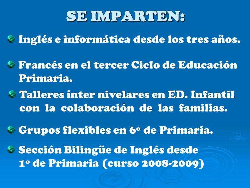 SE IMPARTEN: Inglés e informática desde los tres años.