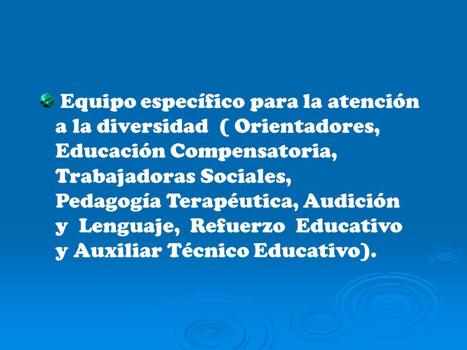 Equipo específico para la atención a la diversidad ( Orientadores, Educación Compensatoria, Trabajadoras Sociales, Pedagogía Terapéutica, Audición y Lenguaje, Refuerzo Educativo y Auxiliar Técnico Educativo).