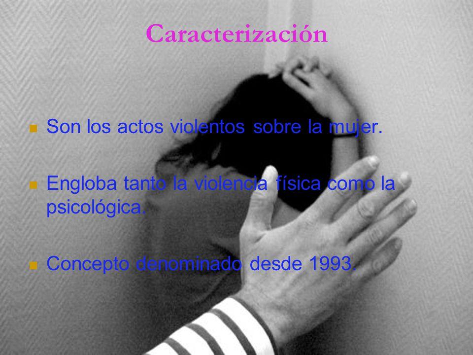 Caracterización Son los actos violentos sobre la mujer.
