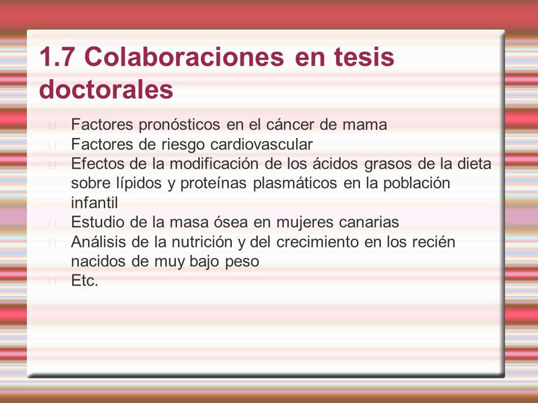 1.7 Colaboraciones en tesis doctorales Factores pronósticos en el cáncer de mama Factores de riesgo cardiovascular Efectos de la modificación de los á