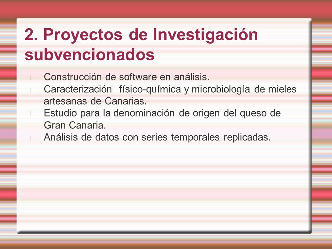 2. Proyectos de Investigación subvencionados Construcción de software en análisis. Caracterización físico-química y microbiología de mieles artesanas