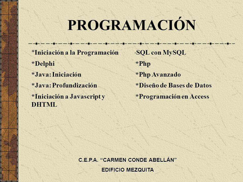 PROGRAMACIÓN *Iniciación a la Programación *Delphi *Java: Iniciación *Java: Profundización *Iniciación a Javascript y DHTML * SQL con MySQL *Php *Php