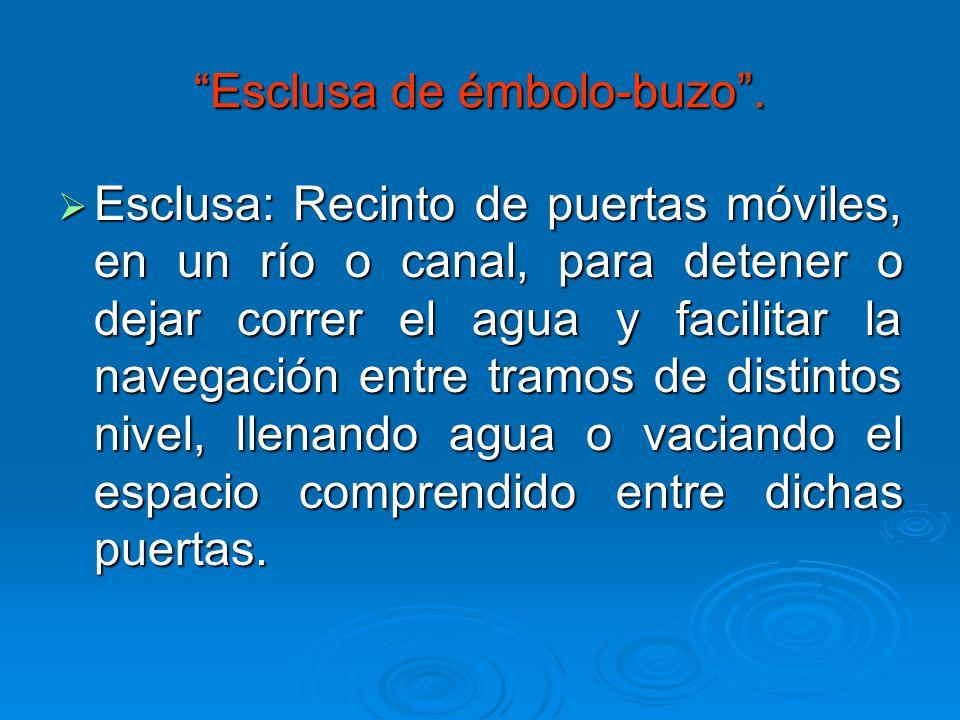 Esclusa de émbolo-buzo. Esclusa: Recinto de puertas móviles, en un río o canal, para detener o dejar correr el agua y facilitar la navegación entre tr