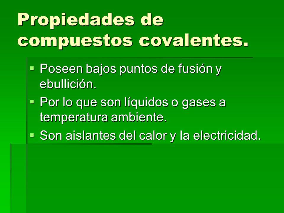 Propiedades de compuestos covalentes.Poseen bajos puntos de fusión y ebullición.