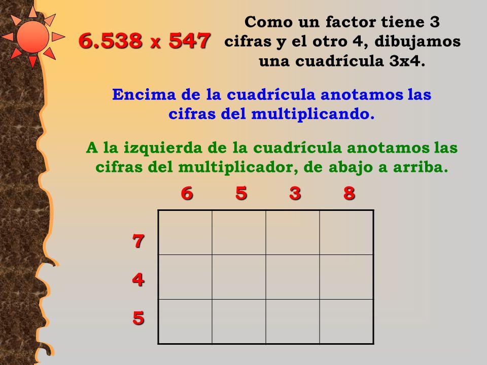Los aritméticos hindúes, a partir del siglo V, realizaron sus multiplicaciones de la siguiente forma: Multipliquemos 6.538 x 547