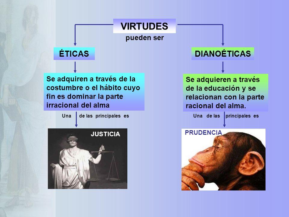 VIRTUDES ÉTICASDIANOÉTICAS Se adquieren a través de la educación y se relacionan con la parte racional del alma. Se adquiren a través de la costumbre