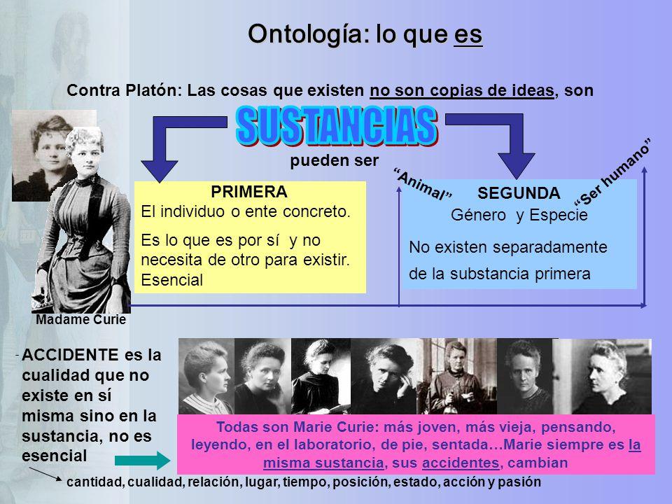 Ontología: lo que es Contra Platón: Las cosas que existen no son copias de ideas, son PRIMERA El individuo o ente concreto. Es lo que es por sí y no n