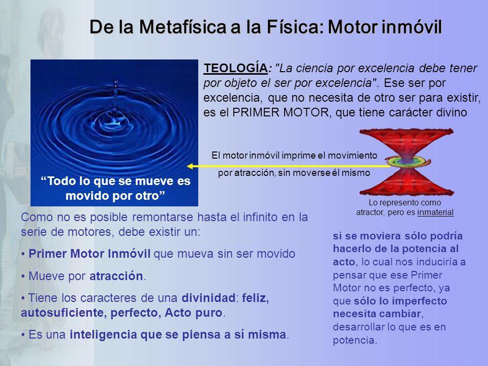De la Metafísica a la Física: Motor inmóvil Todo lo que se mueve es movido por otro TEOLOGÍA: