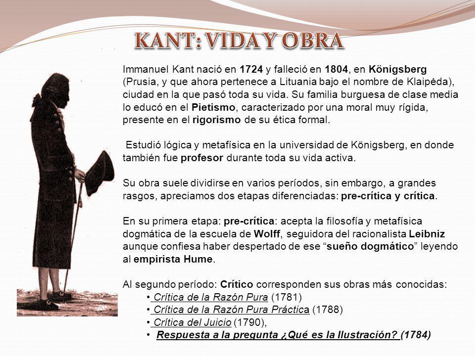 Immanuel Kant nació en 1724 y falleció en 1804, en Königsberg (Prusia, y que ahora pertenece a Lituania bajo el nombre de Klaipėda), ciudad en la que