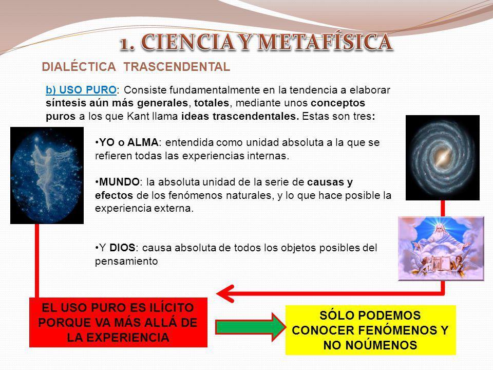 DIALÉCTICA TRASCENDENTAL b) USO PURO: Consiste fundamentalmente en la tendencia a elaborar síntesis aún más generales, totales, mediante unos concepto