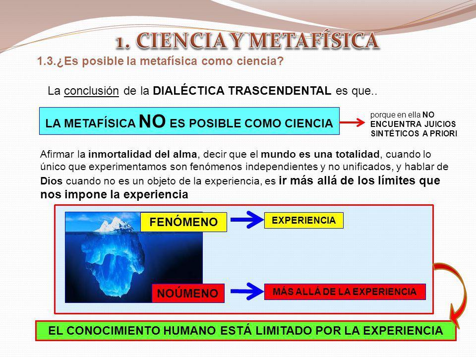 1.3.¿Es posible la metafísica como ciencia? La conclusión de la DIALÉCTICA TRASCENDENTAL es que.. LA METAFÍSICA NO ES POSIBLE COMO CIENCIA porque en e
