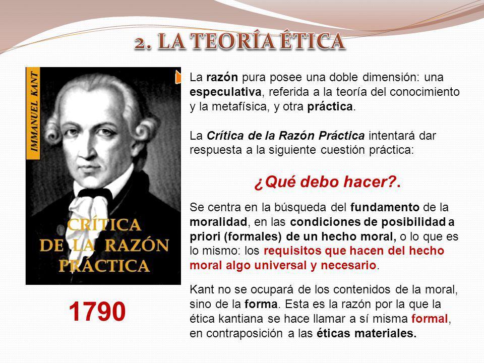 1790 La razón pura posee una doble dimensión: una especulativa, referida a la teoría del conocimiento y la metafísica, y otra práctica. La Crítica de