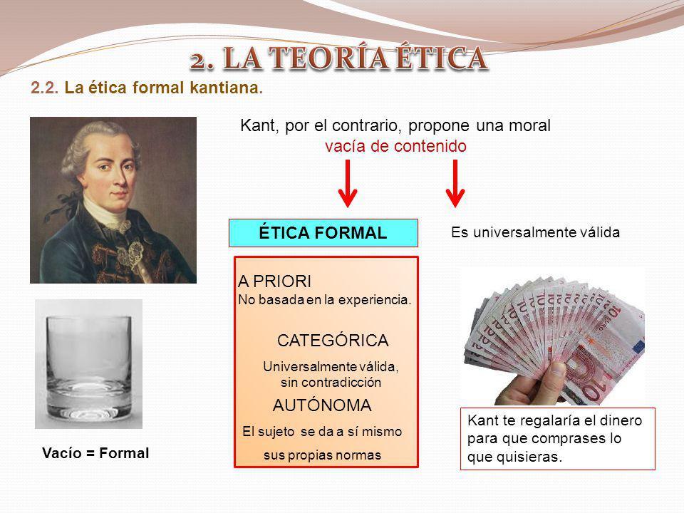 2.2. La ética formal kantiana. ÉTICA FORMAL A PRIORI No basada en la experiencia. CATEGÓRICA Universalmente válida, sin contradicción AUTÓNOMA El suje