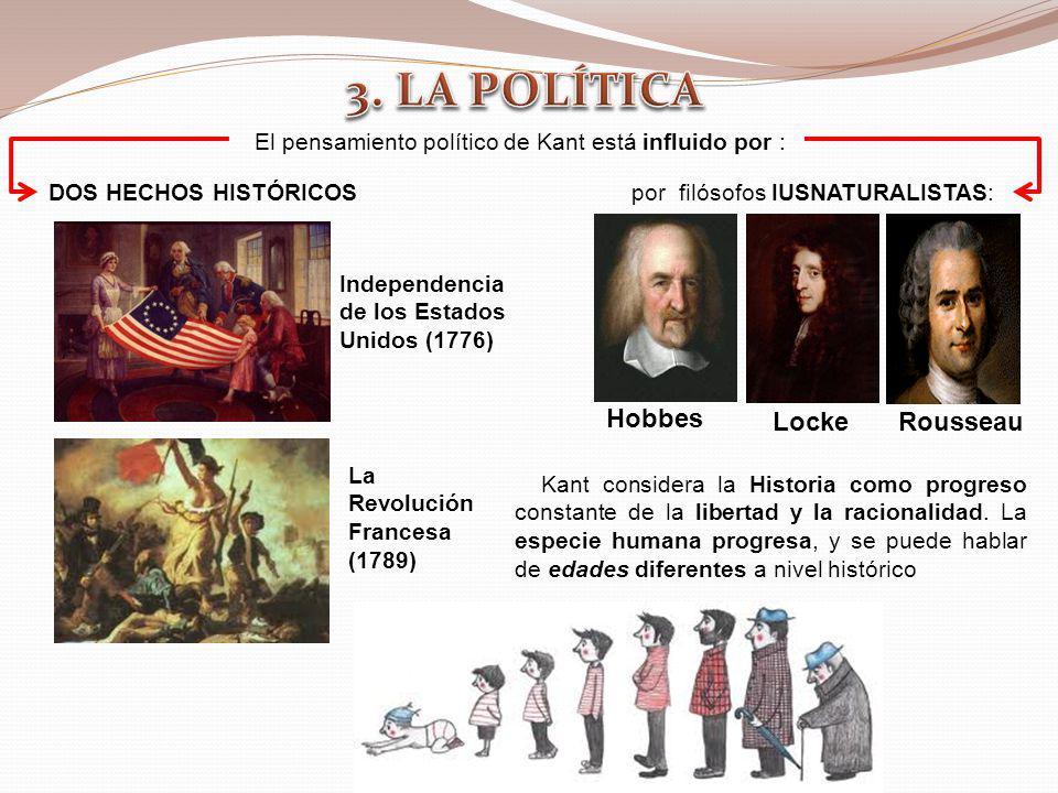 Kant considera la Historia como progreso constante de la libertad y la racionalidad. La especie humana progresa, y se puede hablar de edades diferente