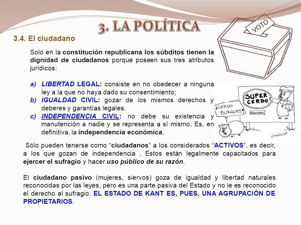 3.4. El ciudadano Sólo pueden tenerse como ciudadanos a los considerados ACTIVOS, es decir, a los que gozan de independencia. Estos están legalmente c