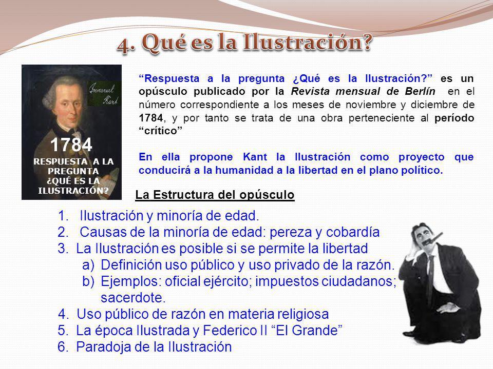 RESPUESTA A LA PREGUNTA ¿QUÉ ES LA ILUSTRACIÓN? 1784 Respuesta a la pregunta ¿Qué es la Ilustración? es un opúsculo publicado por la Revista mensual d